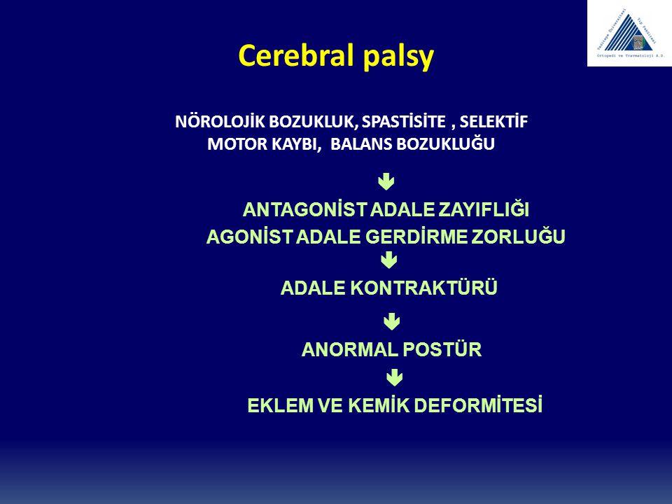 Cerebral palsy NÖROLOJİK BOZUKLUK, SPASTİSİTE , SELEKTİF MOTOR KAYBI, BALANS BOZUKLUĞU.