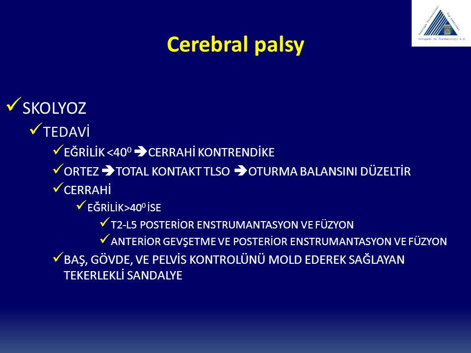 Cerebral palsy SKOLYOZ TEDAVİ EĞRİLİK <400 CERRAHİ KONTRENDİKE