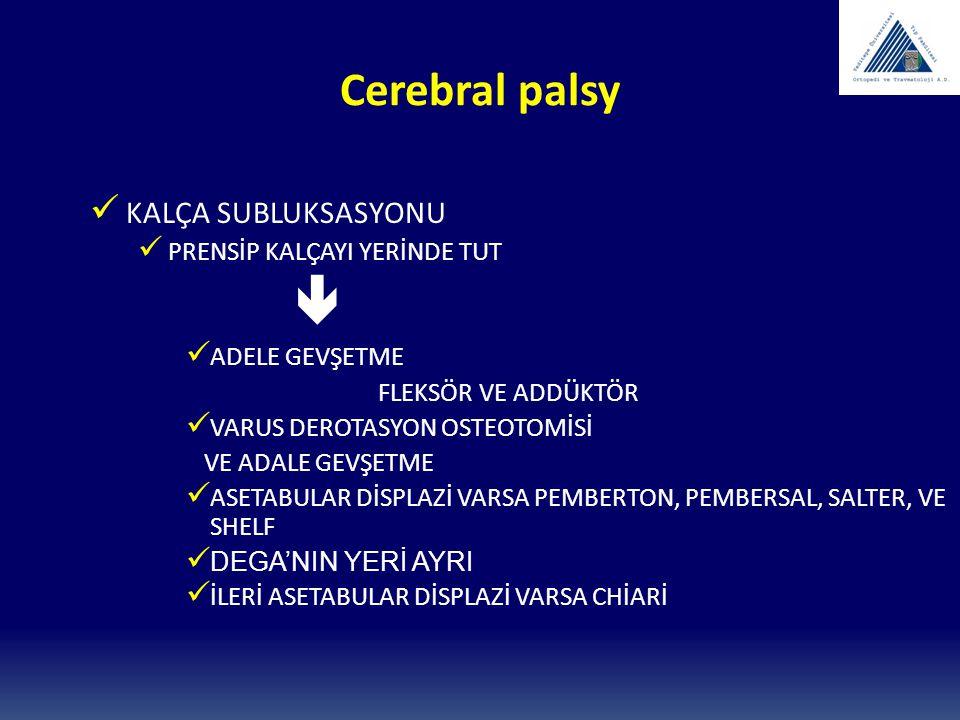 Cerebral palsy KALÇA SUBLUKSASYONU PRENSİP KALÇAYI YERİNDE TUT 