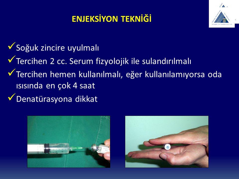 ENJEKSİYON TEKNİĞİ Soğuk zincire uyulmalı. Tercihen 2 cc. Serum fizyolojik ile sulandırılmalı.
