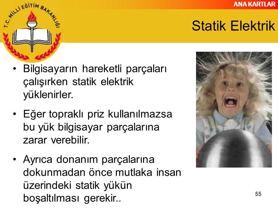 Statik Elektrik Bilgisayarın hareketli parçaları çalışırken statik elektrik yüklenirler.