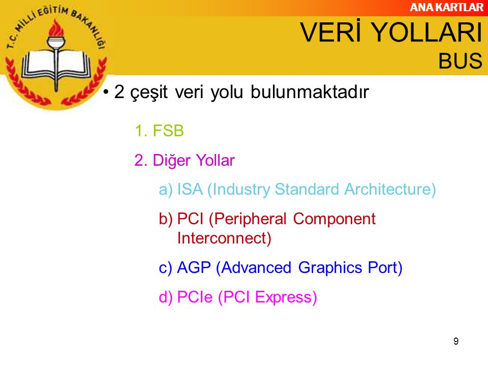 VERİ YOLLARI BUS 2 çeşit veri yolu bulunmaktadır FSB Diğer Yollar