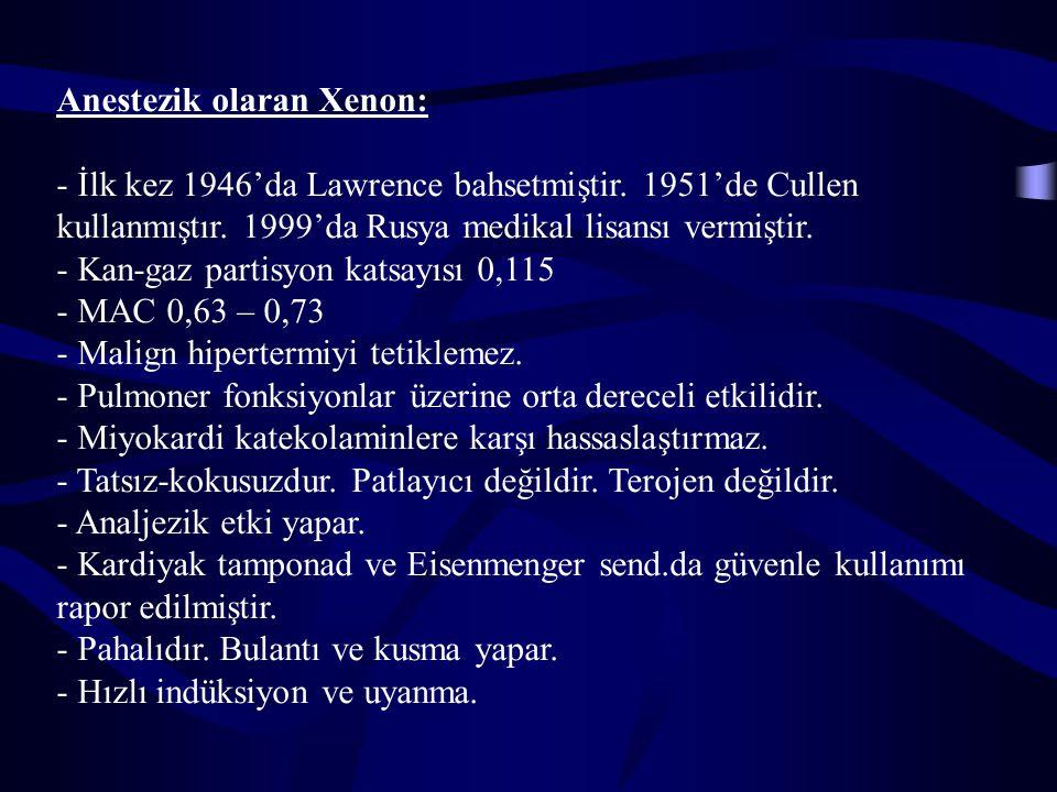 Anestezik olaran Xenon: