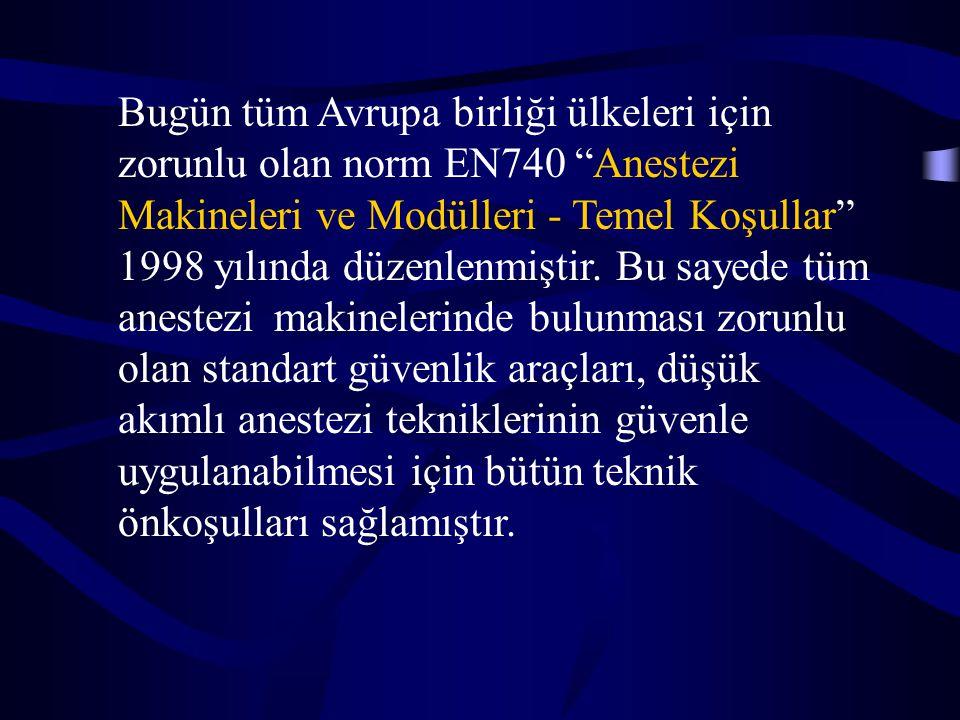 Bugün tüm Avrupa birliği ülkeleri için zorunlu olan norm EN740 Anestezi Makineleri ve Modülleri - Temel Koşullar 1998 yılında düzenlenmiştir.