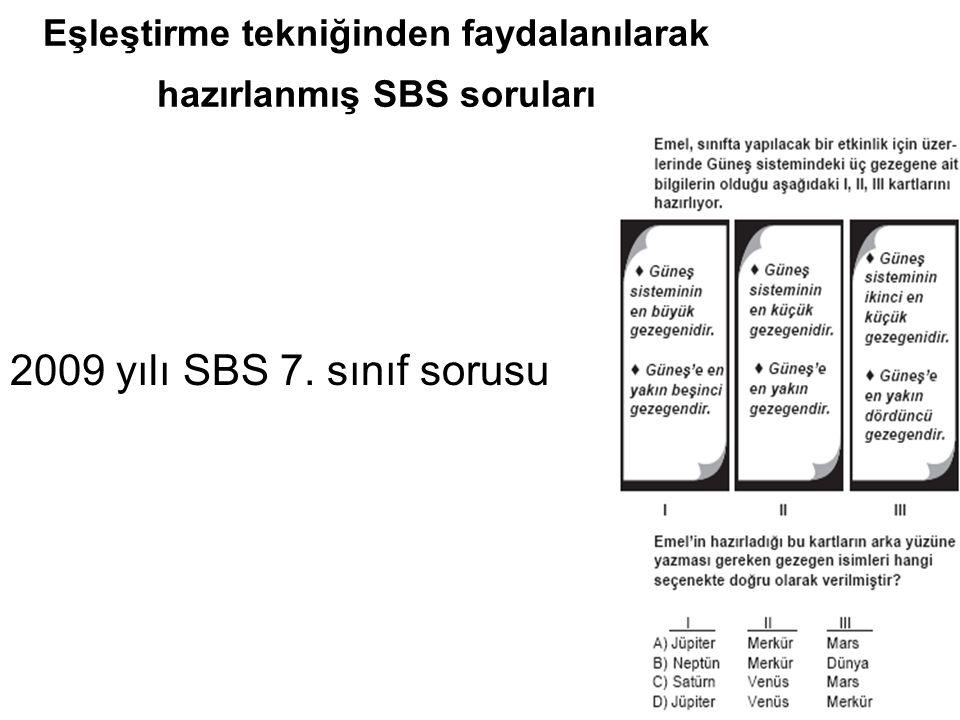 Eşleştirme tekniğinden faydalanılarak hazırlanmış SBS soruları