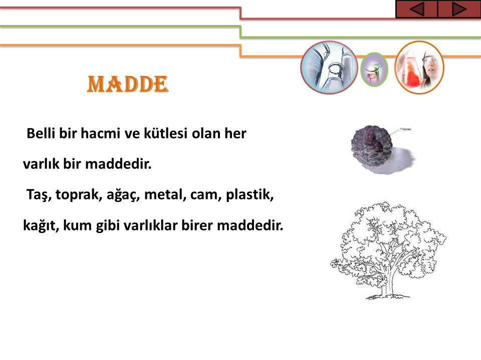 MADDE Belli bir hacmi ve kütlesi olan her varlık bir maddedir.