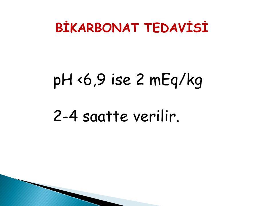 BİKARBONAT TEDAVİSİ pH <6,9 ise 2 mEq/kg 2-4 saatte verilir. 24