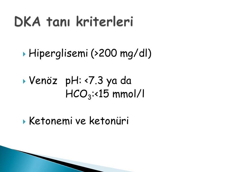 DKA tanı kriterleri Hiperglisemi (>200 mg/dl)
