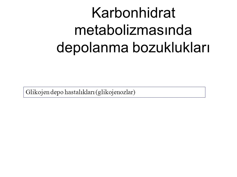Karbonhidrat metabolizmasında depolanma bozuklukları