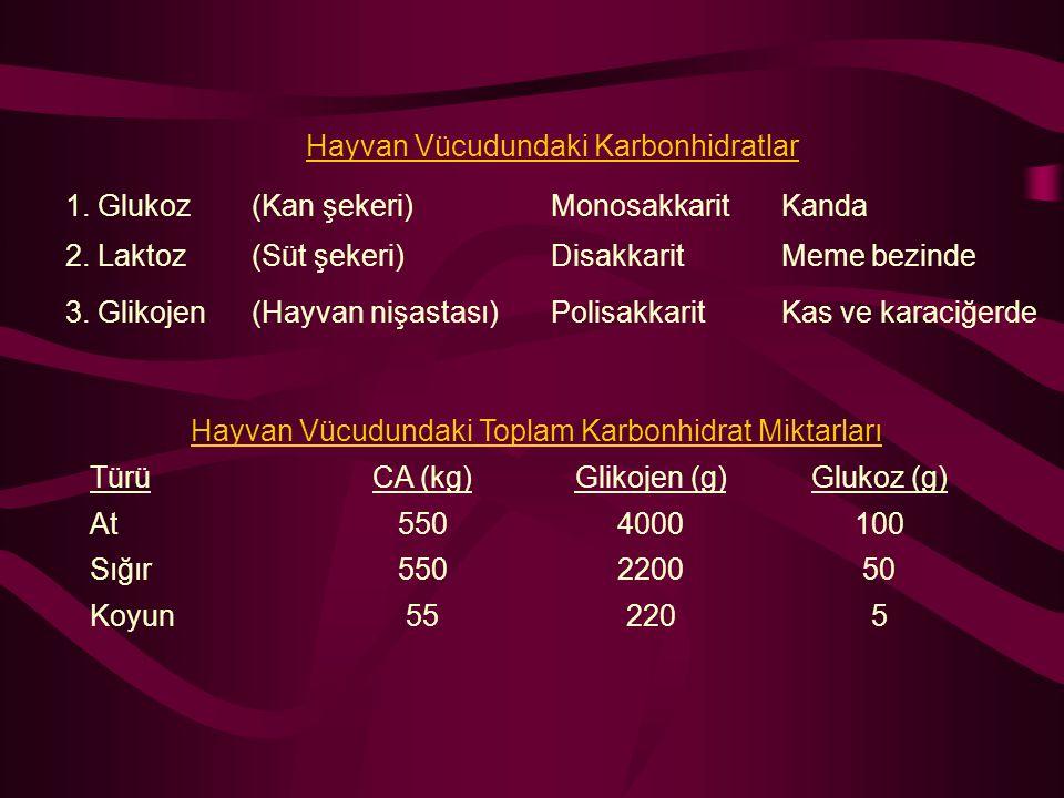 Hayvan Vücudundaki Karbonhidratlar 1. Glukoz (Kan şekeri) Monosakkarit