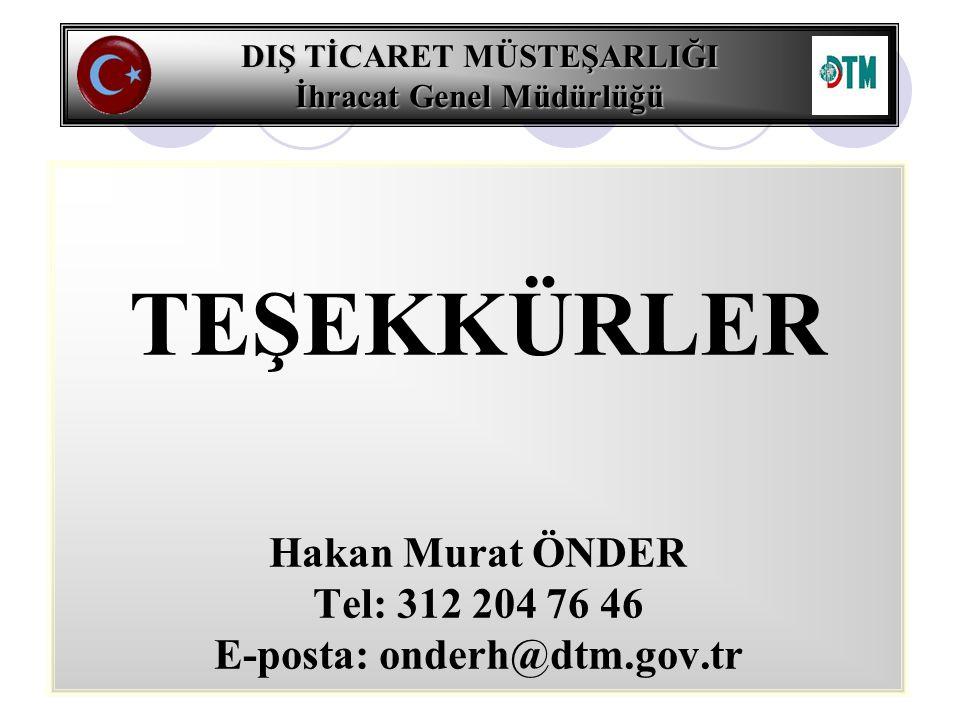 DIŞ TİCARET MÜSTEŞARLIĞI İhracat Genel Müdürlüğü