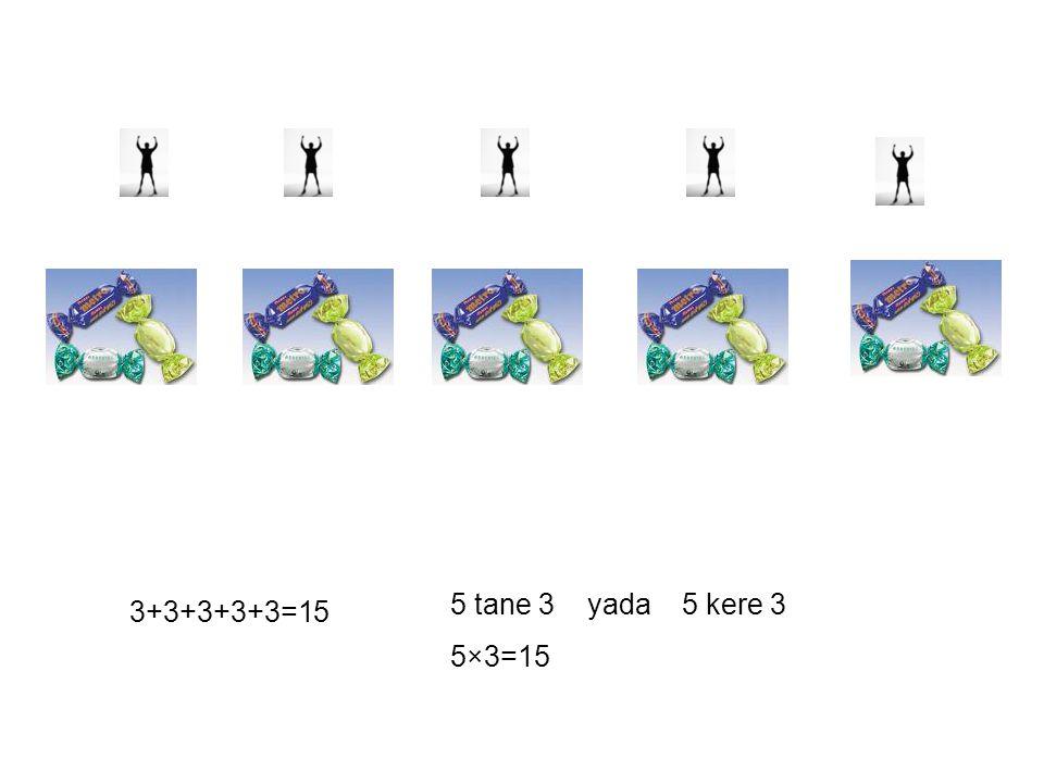 5 tane 3 yada 5 kere 3 5×3=15 3+3+3+3+3=15