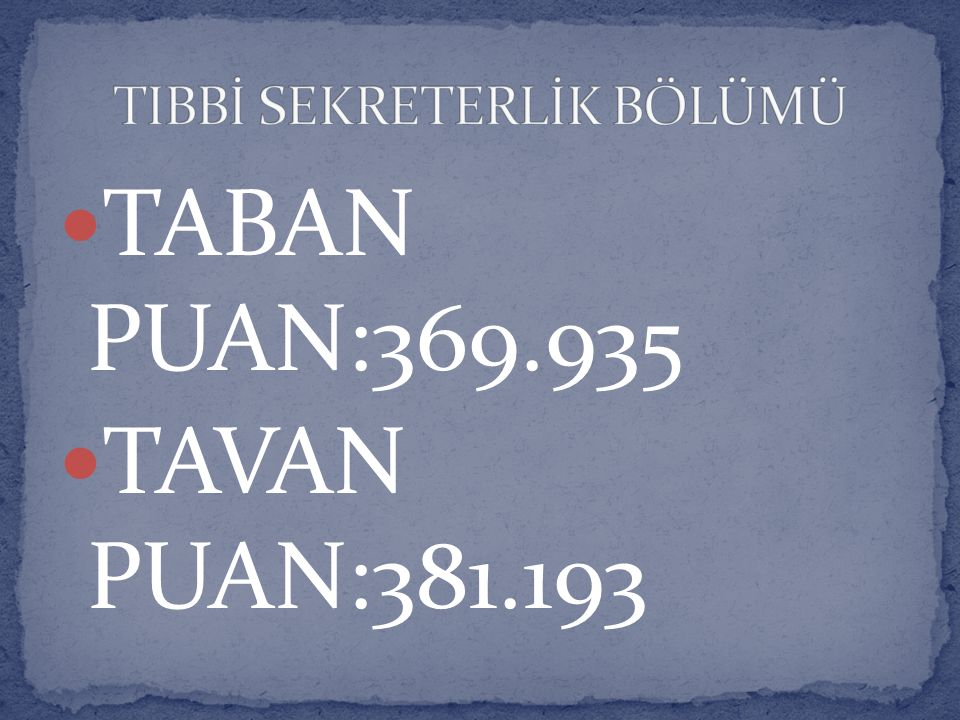 TIBBİ SEKRETERLİK BÖLÜMÜ