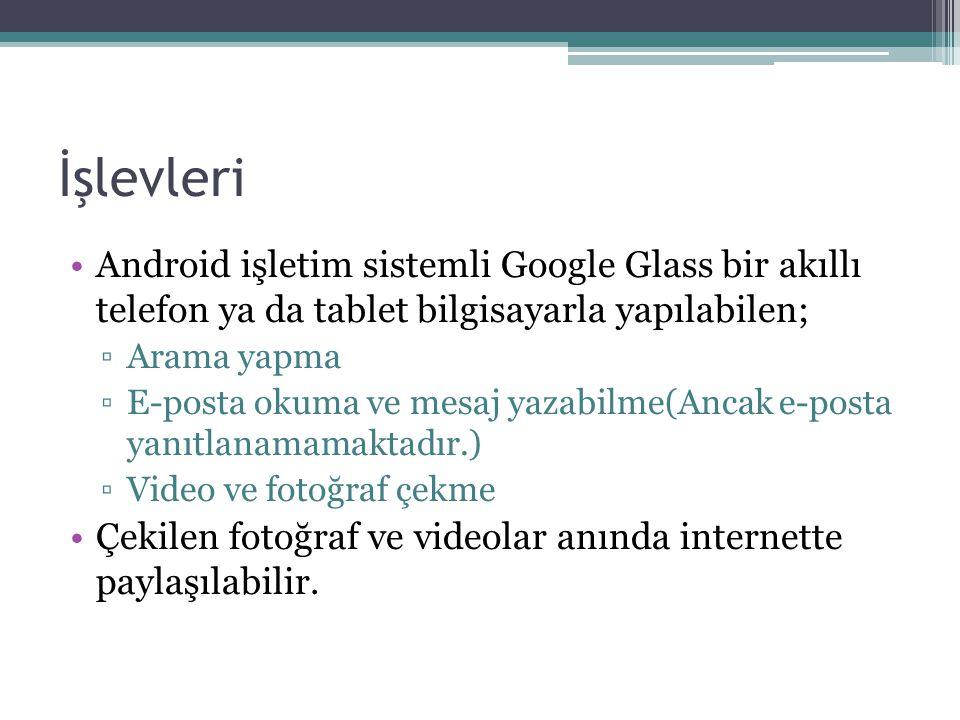 İşlevleri Android işletim sistemli Google Glass bir akıllı telefon ya da tablet bilgisayarla yapılabilen;