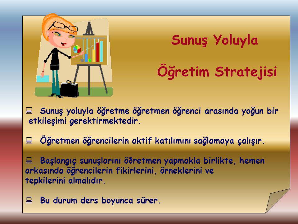 Öğretim Stratejisi Sunuş Yoluyla
