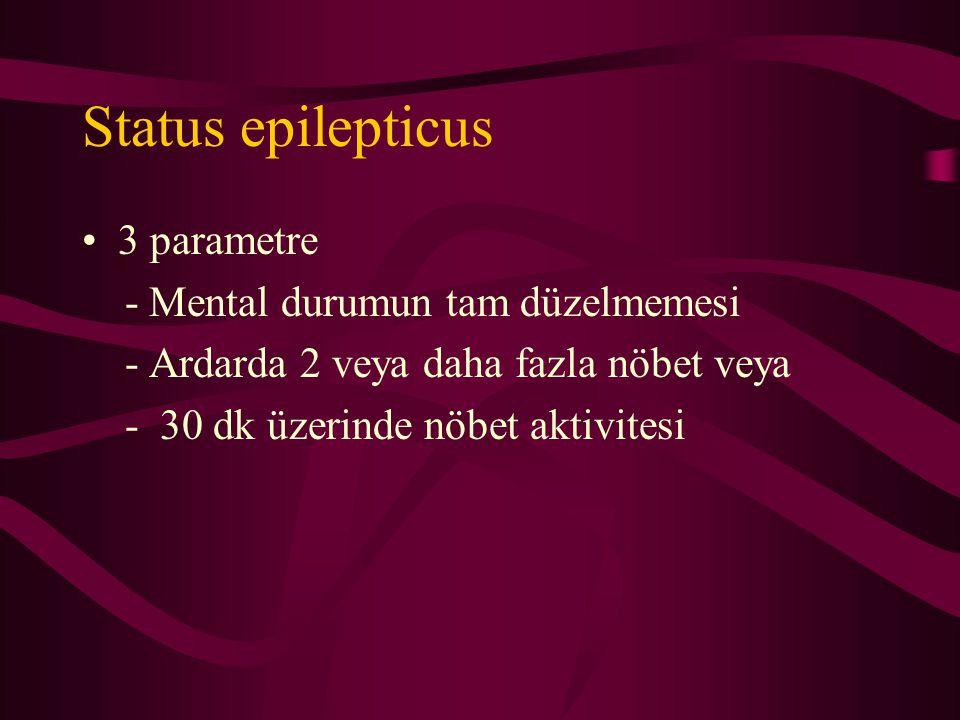Status epilepticus 3 parametre - Mental durumun tam düzelmemesi