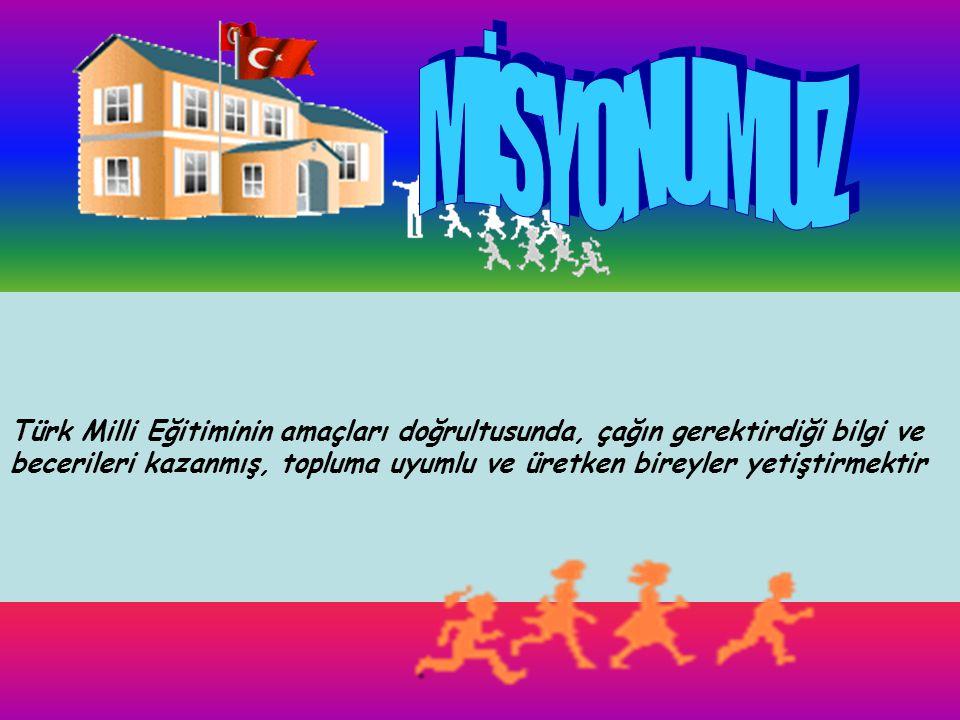 MİSYONUMUZ Türk Milli Eğitiminin amaçları doğrultusunda, çağın gerektirdiği bilgi ve.
