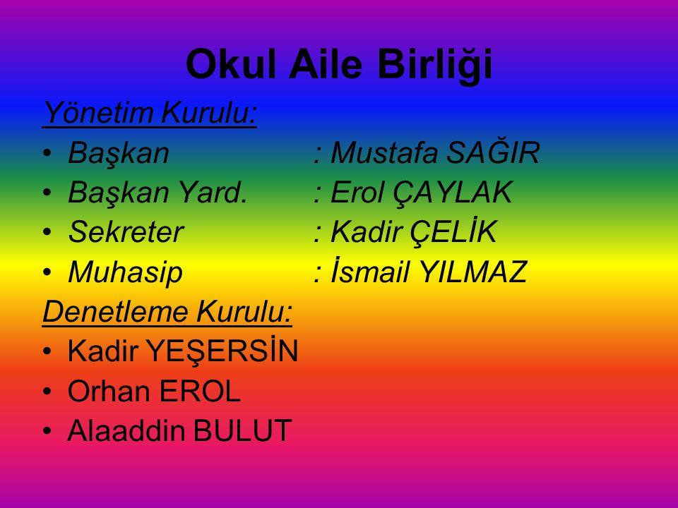 Okul Aile Birliği Yönetim Kurulu: Başkan : Mustafa SAĞIR