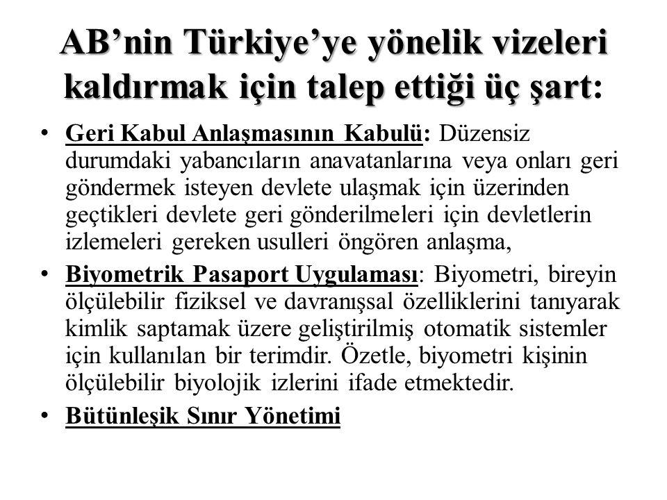 AB'nin Türkiye'ye yönelik vizeleri kaldırmak için talep ettiği üç şart: