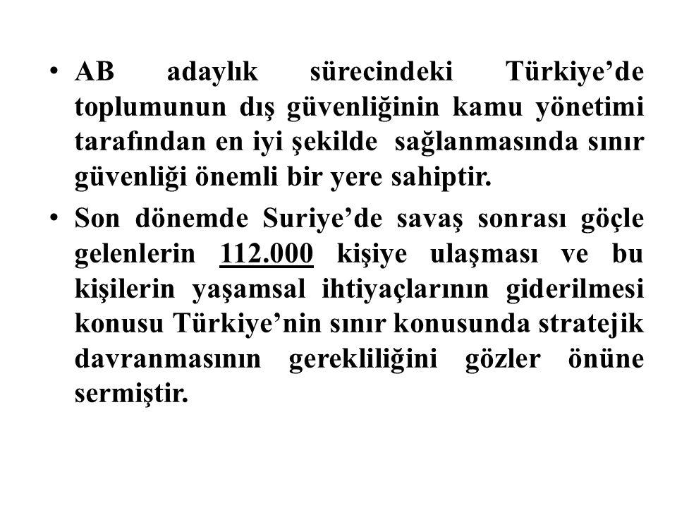 AB adaylık sürecindeki Türkiye'de toplumunun dış güvenliğinin kamu yönetimi tarafından en iyi şekilde sağlanmasında sınır güvenliği önemli bir yere sahiptir.