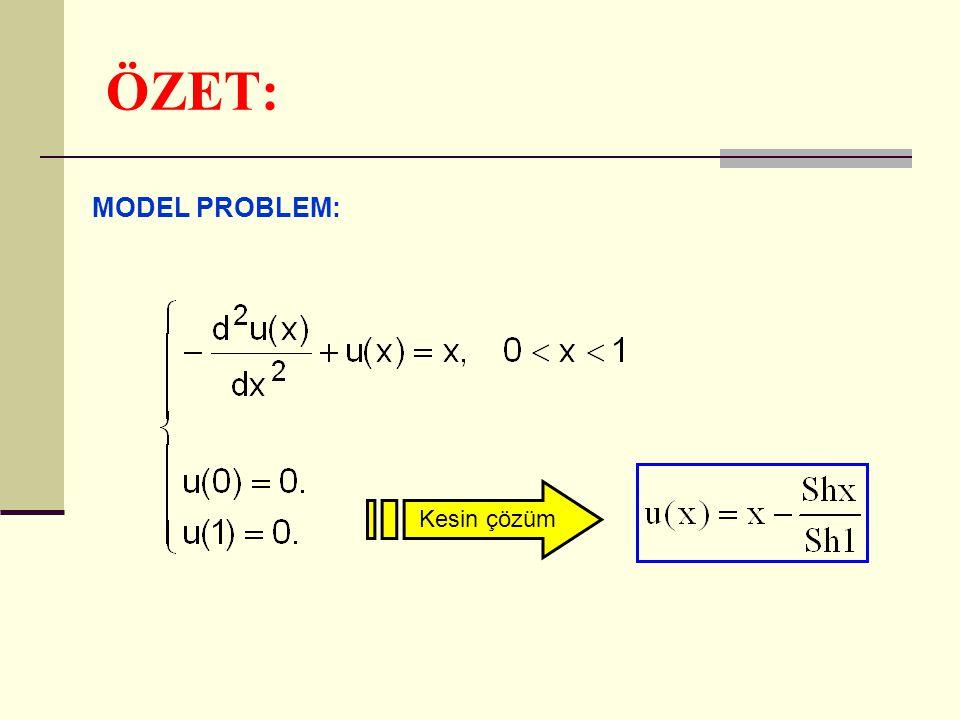 ÖZET: MODEL PROBLEM: Kesin çözüm