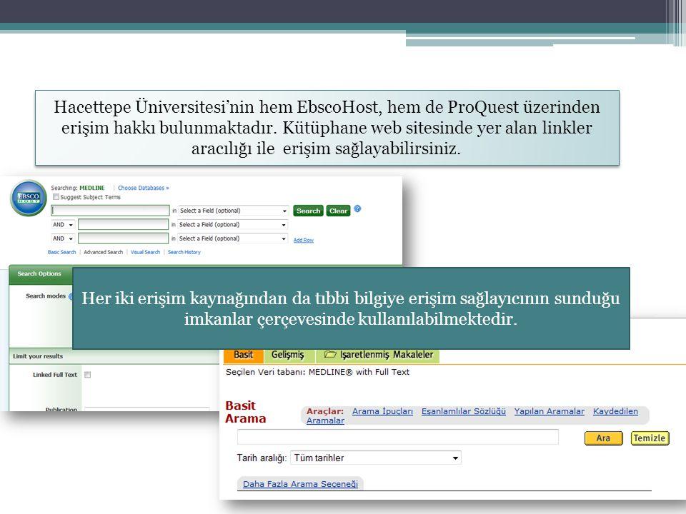 Hacettepe Üniversitesi'nin hem EbscoHost, hem de ProQuest üzerinden erişim hakkı bulunmaktadır. Kütüphane web sitesinde yer alan linkler aracılığı ile erişim sağlayabilirsiniz.