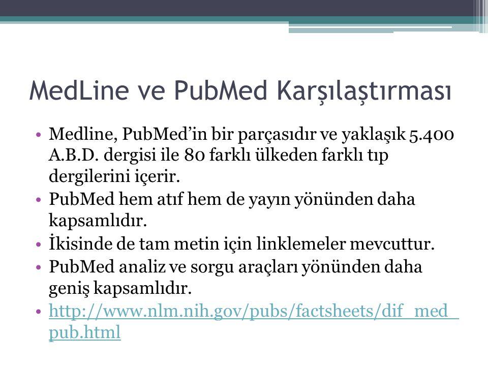 MedLine ve PubMed Karşılaştırması