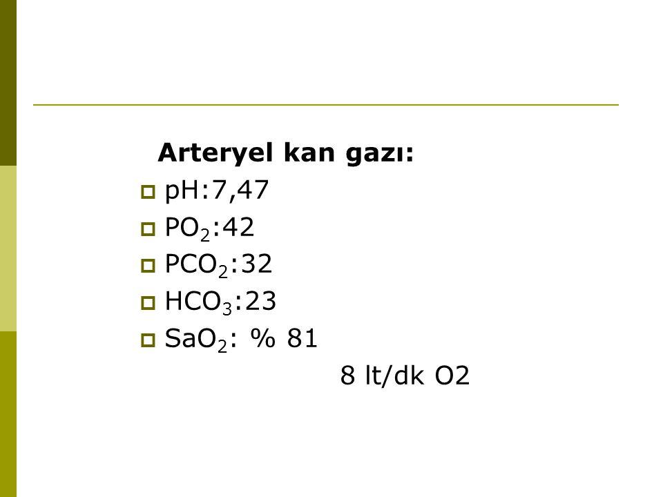 Arteryel kan gazı: pH:7,47 PO2:42 PCO2:32 HCO3:23 SaO2: % 81 8 lt/dk O2