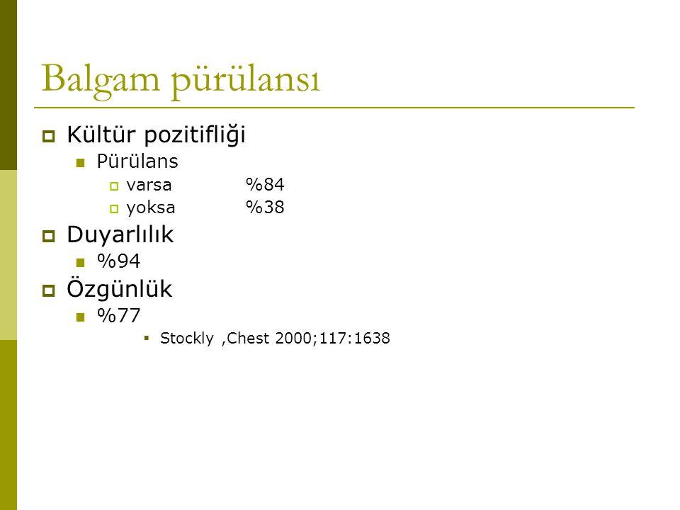 Balgam pürülansı Kültür pozitifliği Duyarlılık Özgünlük Pürülans %94