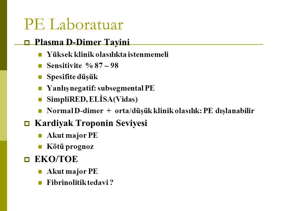 PE Laboratuar Plasma D-Dimer Tayini Kardiyak Troponin Seviyesi EKO/TOE