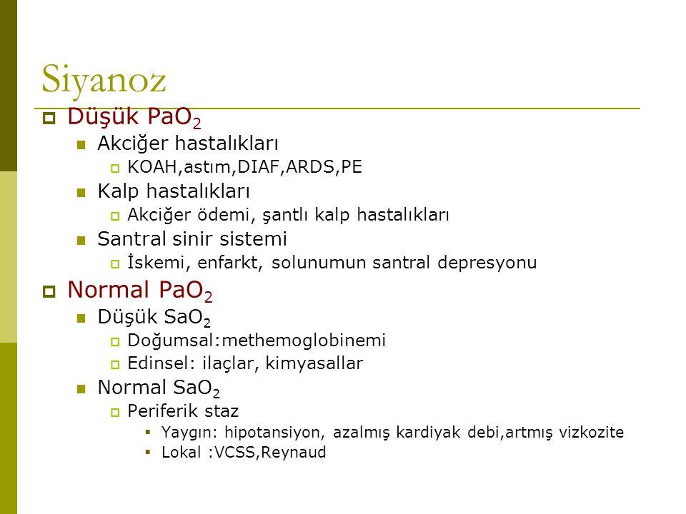 Siyanoz Düşük PaO2 Normal PaO2 Akciğer hastalıkları Kalp hastalıkları