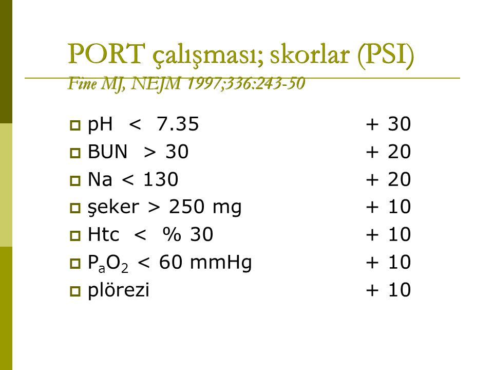 PORT çalışması; skorlar (PSI) Fine MJ, NEJM 1997;336:243-50