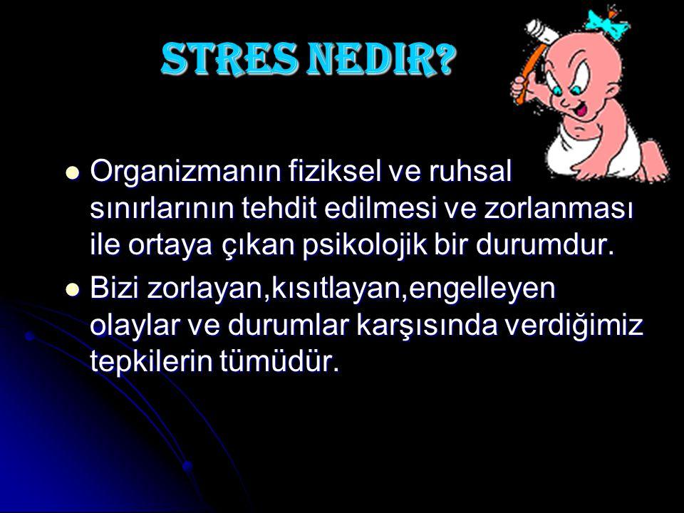 Stres nedir Organizmanın fiziksel ve ruhsal sınırlarının tehdit edilmesi ve zorlanması ile ortaya çıkan psikolojik bir durumdur.
