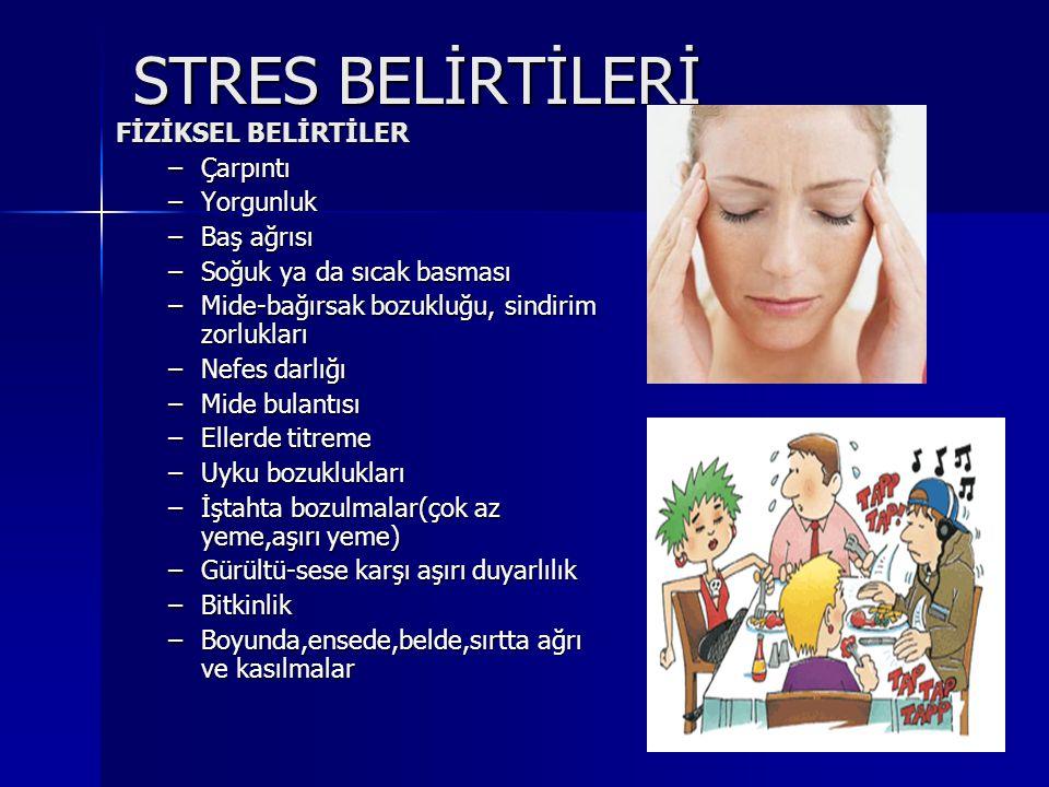 STRES BELİRTİLERİ FİZİKSEL BELİRTİLER Çarpıntı Yorgunluk Baş ağrısı