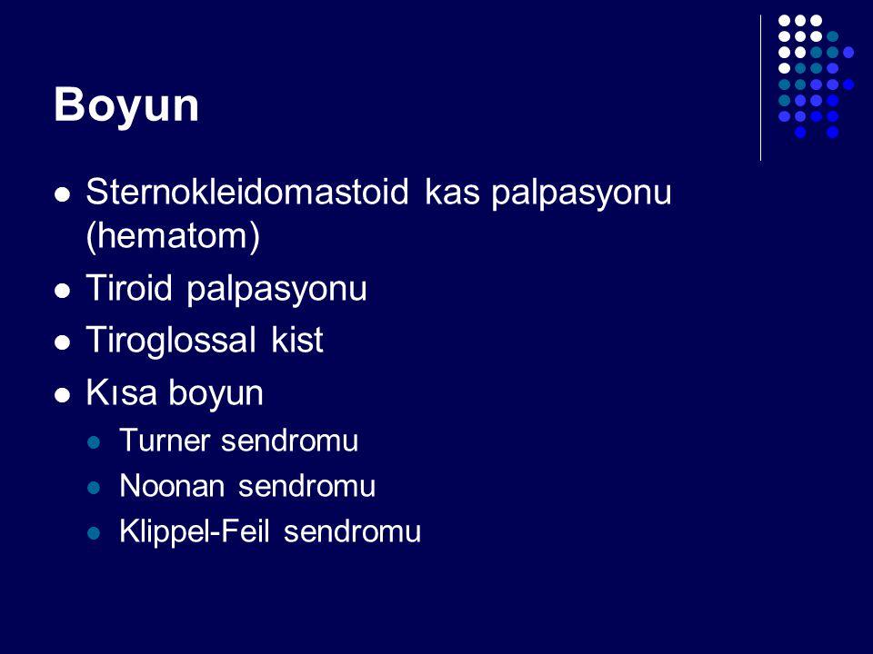 Boyun Sternokleidomastoid kas palpasyonu (hematom) Tiroid palpasyonu