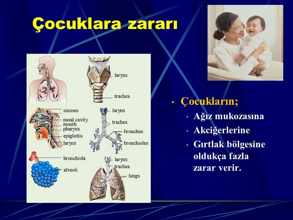 Çocuklara zararı Çocukların; Ağız mukozasına Akciğerlerine