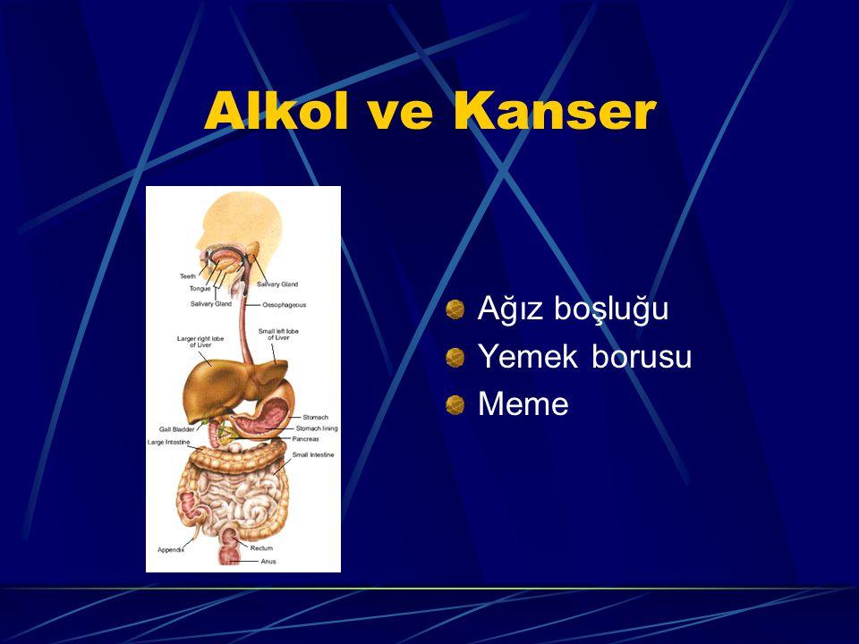 Alkol ve Kanser Ağız boşluğu Yemek borusu Meme