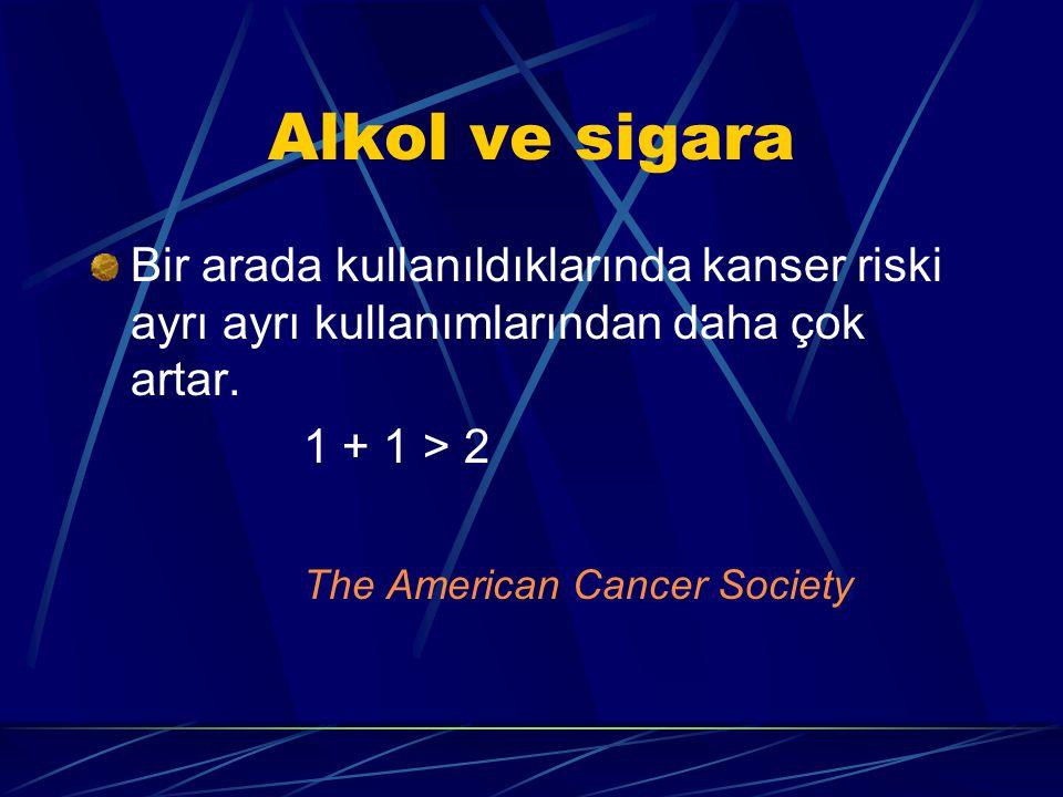 Alkol ve sigara Bir arada kullanıldıklarında kanser riski ayrı ayrı kullanımlarından daha çok artar.