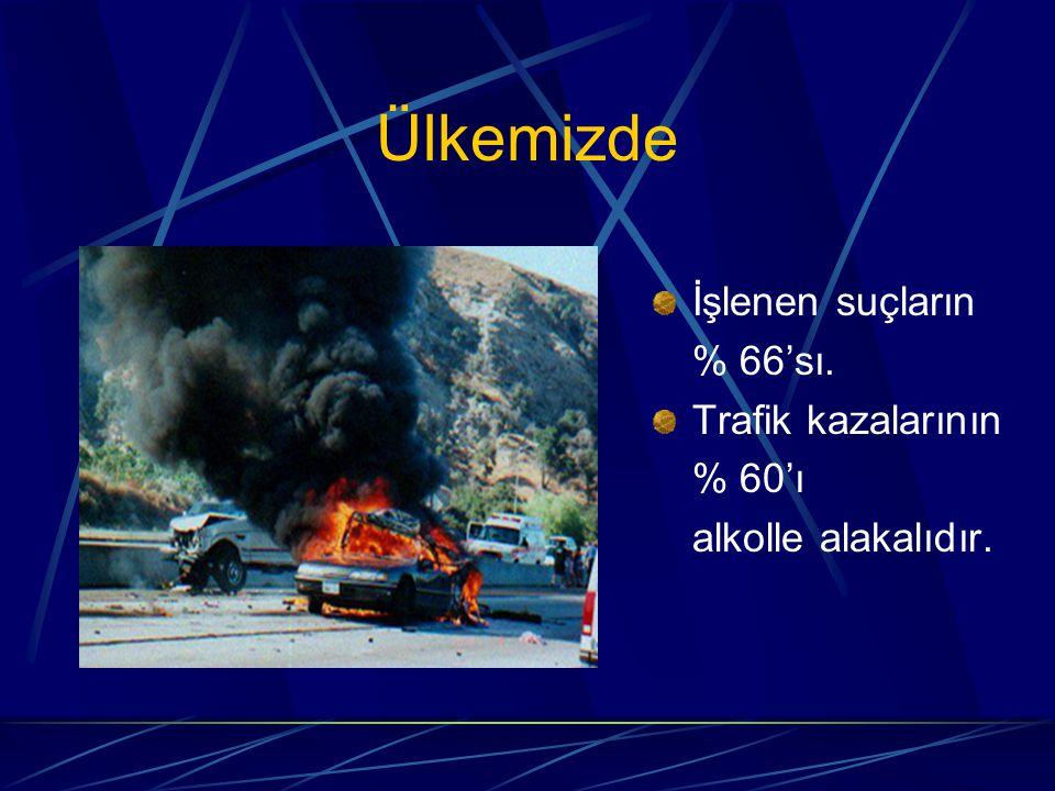 Ülkemizde İşlenen suçların % 66'sı. Trafik kazalarının % 60'ı