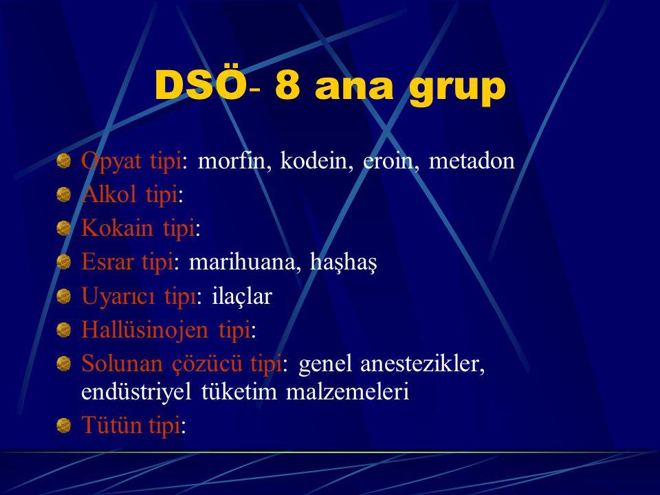 DSÖ- 8 ana grup Opyat tipi: morfin, kodein, eroin, metadon Alkol tipi: