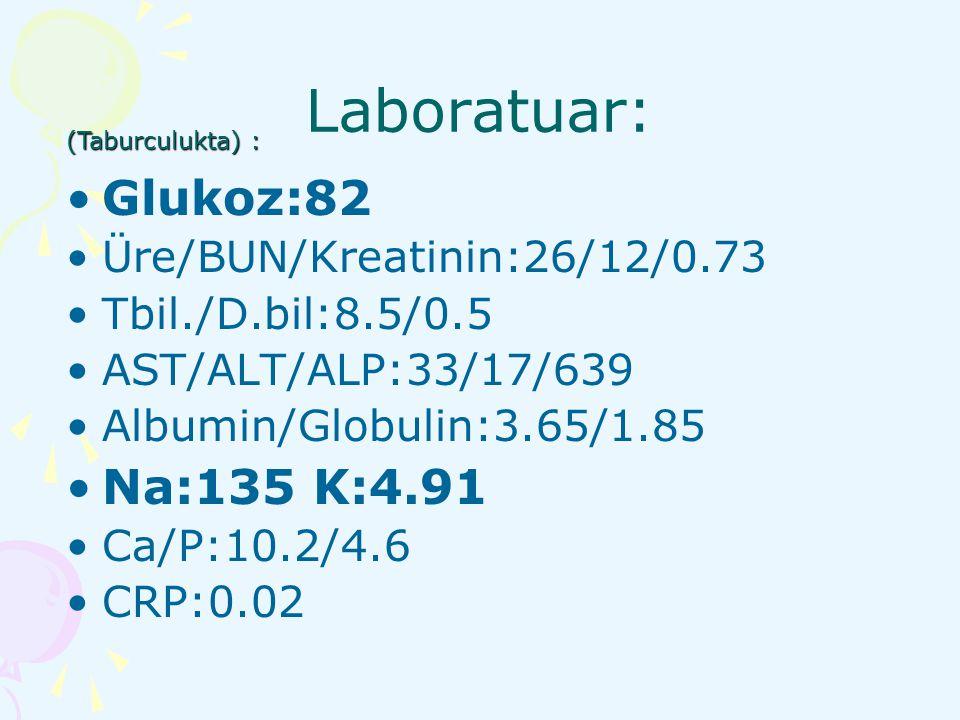 Laboratuar: Glukoz:82 Na:135 K:4.91 Üre/BUN/Kreatinin:26/12/0.73