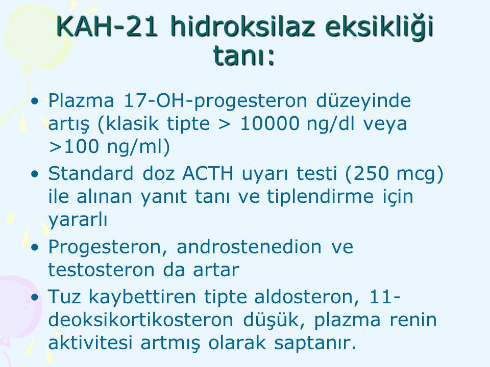 KAH-21 hidroksilaz eksikliği tanı: