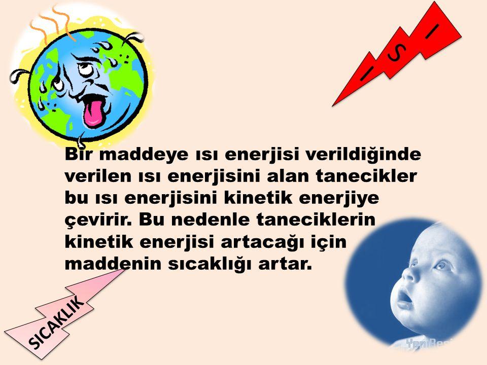 Bir maddeye ısı enerjisi verildiğinde verilen ısı enerjisini alan tanecikler bu ısı enerjisini kinetik enerjiye çevirir.
