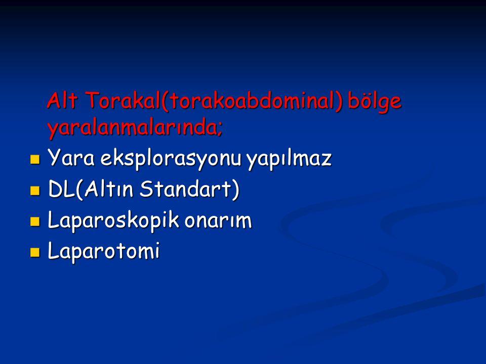 Alt Torakal(torakoabdominal) bölge yaralanmalarında;