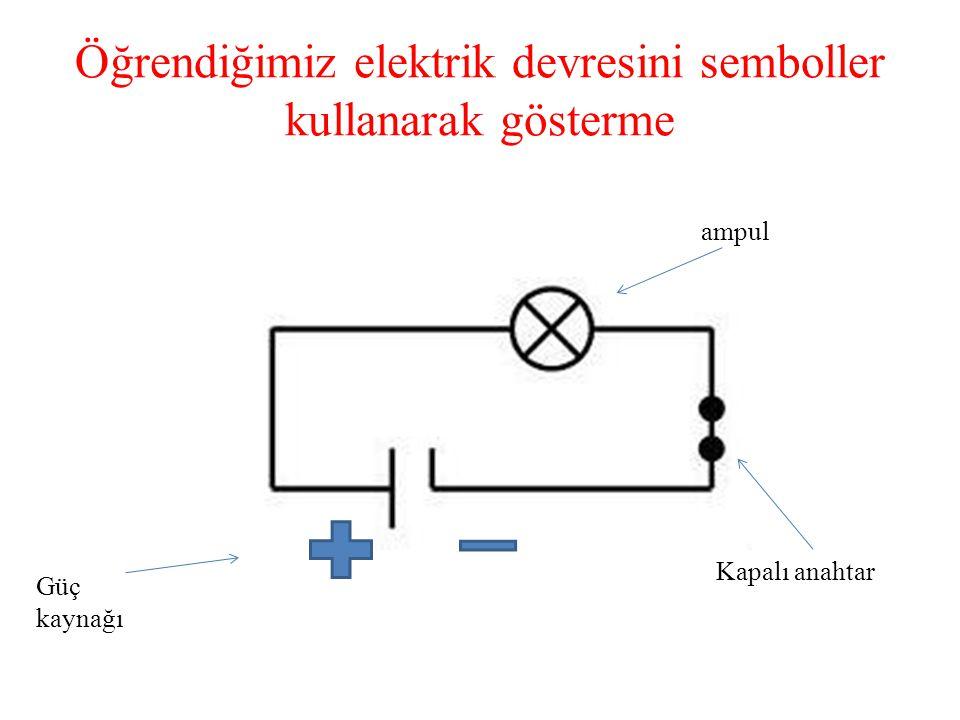 Öğrendiğimiz elektrik devresini semboller kullanarak gösterme