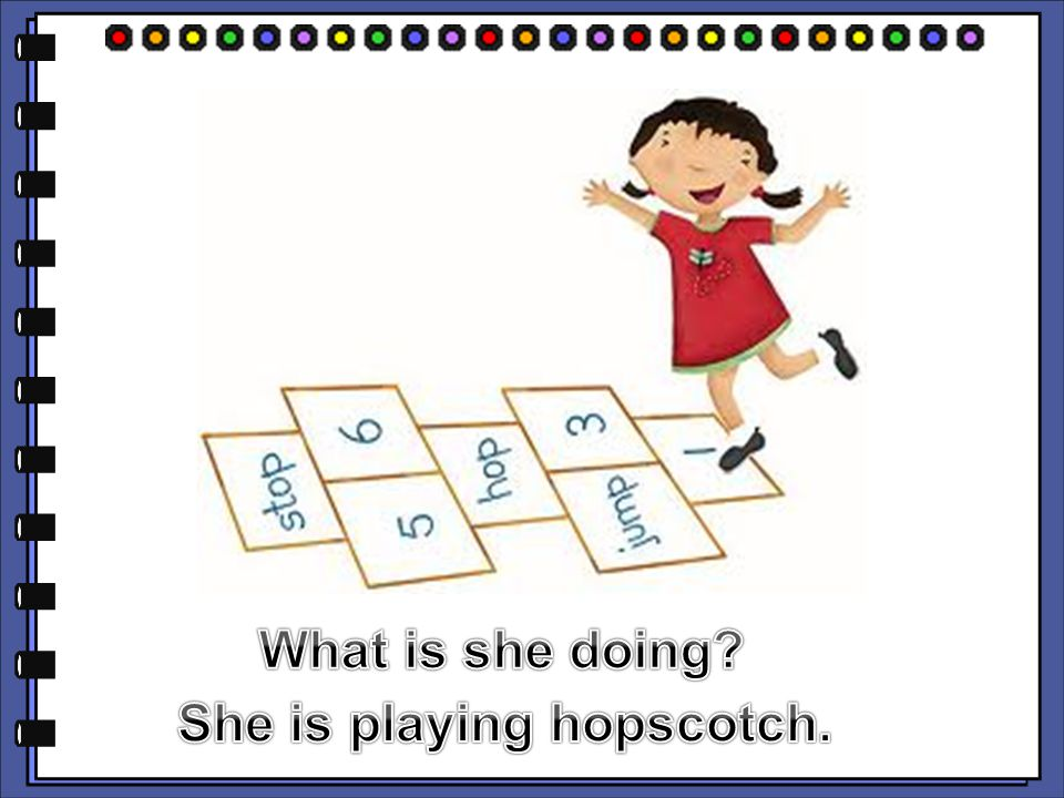 She is playing hopscotch.