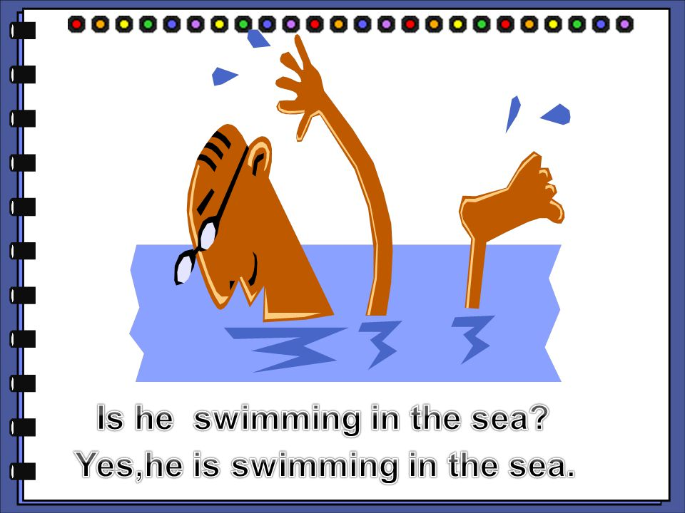 Is he swimming in the sea Yes,he is swimming in the sea.