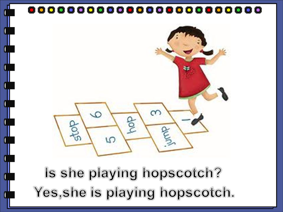 Is she playing hopscotch Yes,she is playing hopscotch.