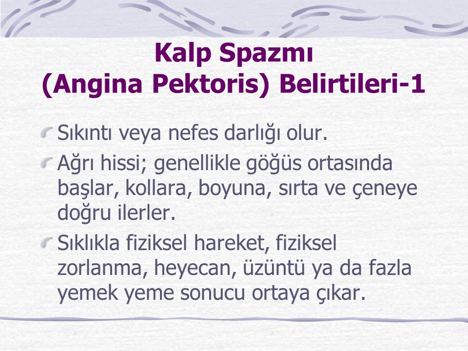 Kalp Spazmı (Angina Pektoris) Belirtileri-1