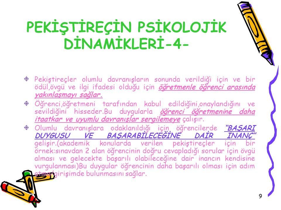 PEKİŞTİREÇİN PSİKOLOJİK DİNAMİKLERİ-4-